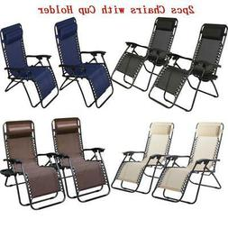2X Zero Gravity Chair Lounge Patio Folding Recliner Outdoor