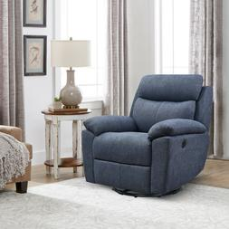 """35"""" Wide Overstuffed Power Recliner with Swivel for Living R"""