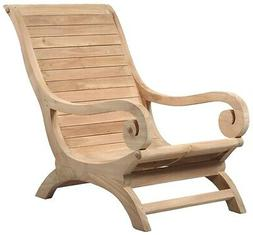 """36"""" Romolo Lounge Chair Hand Crafted Solid Teak Wood Rolled"""