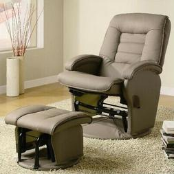 Coaster 600166 Glider Chair With Ottoman Beige Faux Leather
