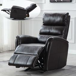 Air Leather Glider Recliner Chair Paddded Seat Manual Reclin