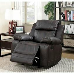 Furniture of America Alise Faux Leather Recliner in Brown