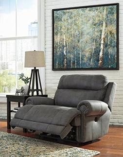 Ashley Furniture Austere Gray Faux Leather Uph Zero Wall Wid