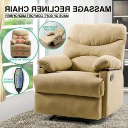 Beige Microfiber Massage Recliner Chair Heated Vibrating Lou