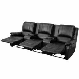 Flash Furniture Black Leather Pillowtop 3-Seat Home Theater