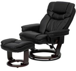 Black Leather Swiveling Recliner with Ottoman Arm Chair Swiv