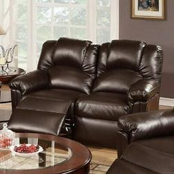 Bonded Leather Recliner Loveseat, Brown Brown Modern & Conte