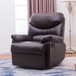 Brown Coffee Leather Upholstered Recliner Chair Home Living