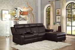 Brown Large Recliner Sectional Sofa Couch Chaise Lounge with