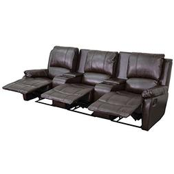 Brown Leather Pillowtop 3-Seat Home Theater Recliner with St