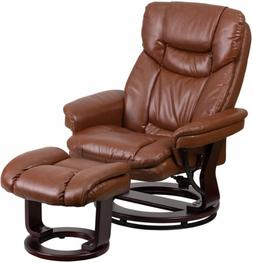 Brown Leather Swiveling Recliner with Ottoman Arm Chair Swiv