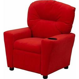 Offex Contemporary Red Microfiber Kids Recliner with Cup Hol