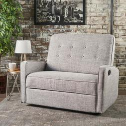 Noble House Capri Buttoned Tweed Fabric Reclining Loveseat,L