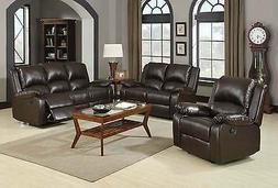 CASUAL BROWN LEATHERETTE RECLINING MOTION SOFA & LOVESEAT FU