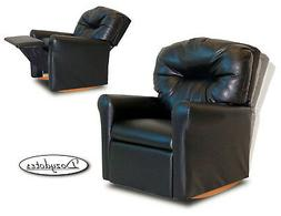 Child Rocking Chair Recliner - Black Leather Like
