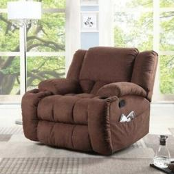 Chocolate Brown Manual Glider Recliner Chair Arm Chairs Recl