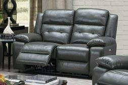 Classic Slate Grey Top Grain Leather Match Power Reclining L