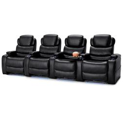Barcalounger Columbia Black Leather Gel Row of 4 Power Recli