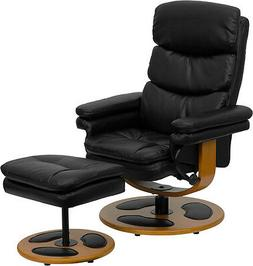 Contemporary Black Leather Recliner and Ottoman with Wood Ba