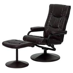 Contemporary Leather Recliner and Ottoman with Leather Wrapp