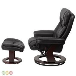 Contemporary Leather Recliner and Ottoman with Swiveling Woo