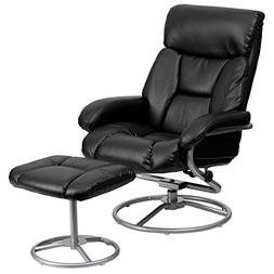 Contemporary Leather Recliner and Ottoman, Black