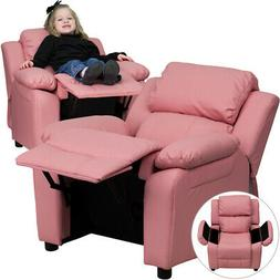 Deluxe Padded Contemporary Pink Vinyl Kids Recliner with Sto