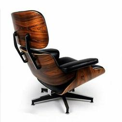 Eames Style Lounge Chair and Ottoman Palisander Plywood Top