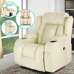 Extra Wide Back Leather Massage Recliner Chair Heated Vibrat