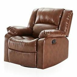 Faux Leather Rocker and Swivel Glider Recliner Living Room C