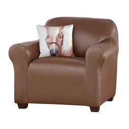 Collections Etc Faux Leather Stretch Slipcover BROWN CHAIR