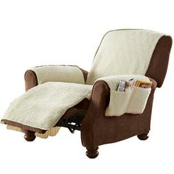 Fleece Recliner Furniture Protector Cover with Pockets
