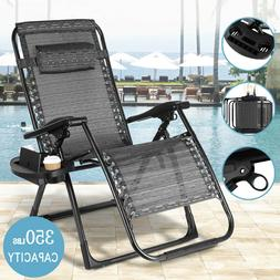 Folding Extra Wide Zero Gravity Chair Recliner Patio Pool Lo