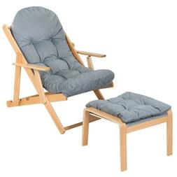 Folding Recliner Chair Lounge Seat with Ottoman Adjustable B