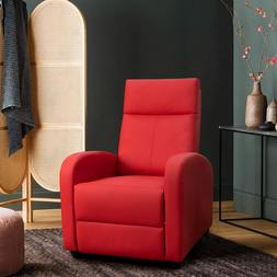 Furniture Red Recliner Leather Den Dorm Living Room Chair Pa