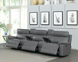 GREY POLYESTER 3 POWER RECLINER RECLINING THEATER SEATS & 2