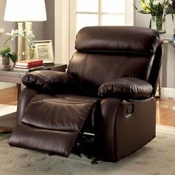Furniture of America Gryphon Top Grain Leather Recliner, Bro