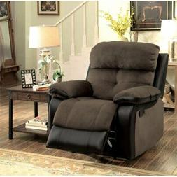 Furniture of America Gwendalyn Recliner Chair in Brown and E