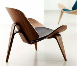 Hans Wegner Style Shell Chair Replica Genuine Leather Accent