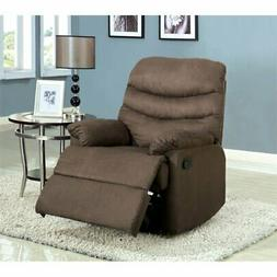 Furniture of America Helena Plush Microfiber Recliner in Gra