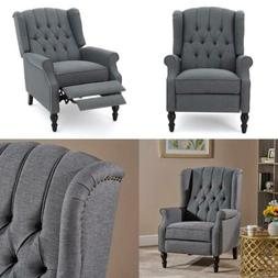 Home Elizabeth Tufted Accent Chair Charcoal Gray Single Recl