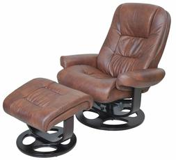 Barcalounger Jacque II Leather Recliner And Ottoman Whiskey