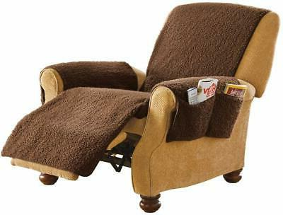 Armchair Recliner Chair Cover Protector with Side Pockets Br