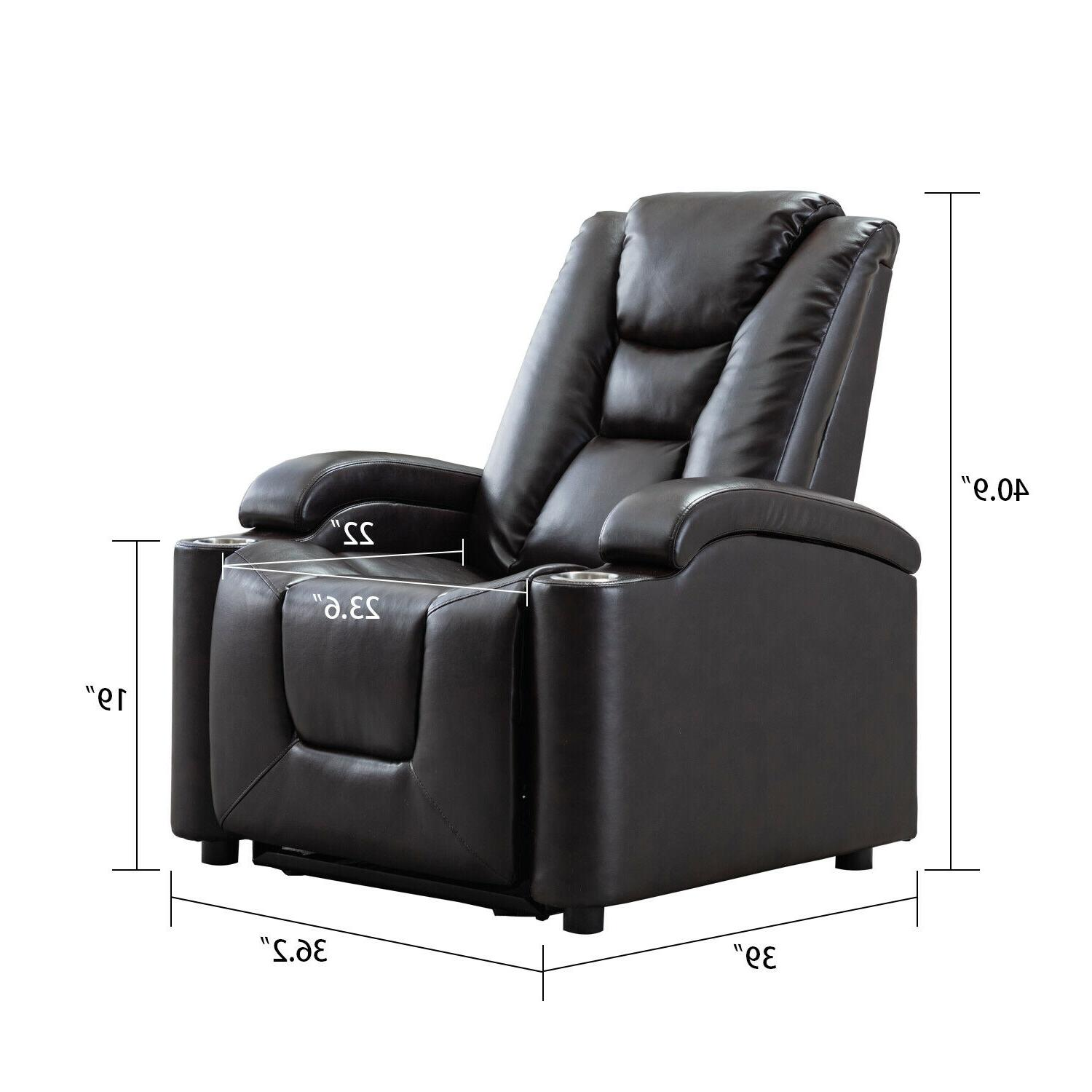 Black Power Chair with Theater Seating Arm