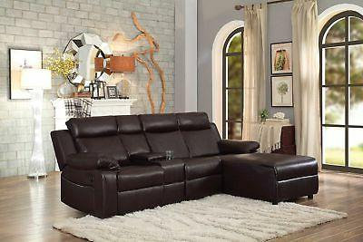 Small Space Brown Large Recliner Sectional Sofa Couch Chaise
