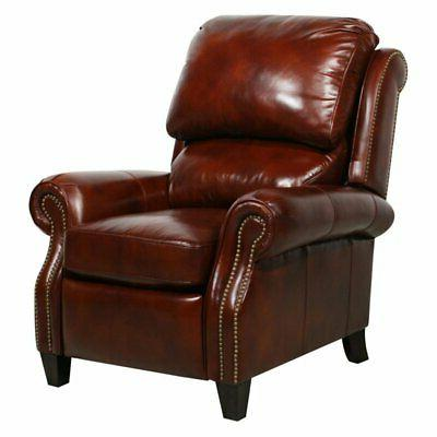 churchill ii leather recliner with nailheads