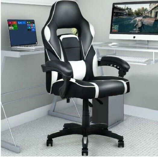executive black and white pu leather racing