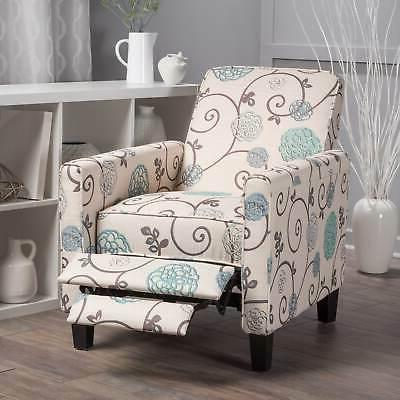 floral white blue fabric wood recliner club