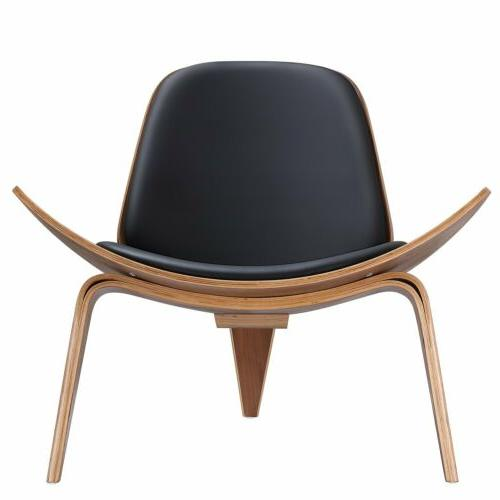 Megan Mid-Century Modern Walnut Shell Accent Chair with Bent