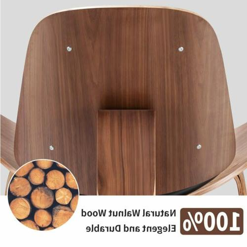 Megan Mid-Century Shell Chair Bentwood Leather